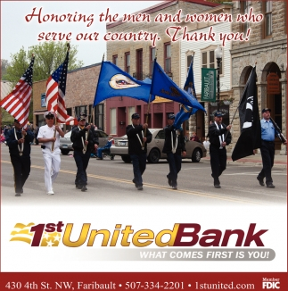 Thank You, 1st United Bank, Faribault, MN