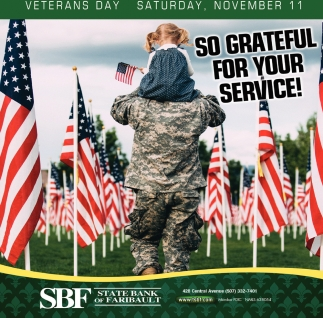 So grateful for your service!, State Bank of Faribault, Faribault, MN
