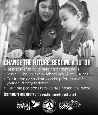 Change the future; Become a tutor, Reading Corps and Math Corps, Faribault, MN