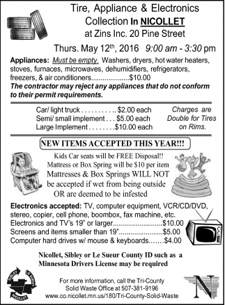 Tire, Appliance & Electronics Collection In NICOLLET