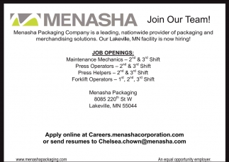 menasha packaging employment ads from owatonna peoples press - 2nd Shift Careers 2nd Shift Employment 2nd Shift Jobs
