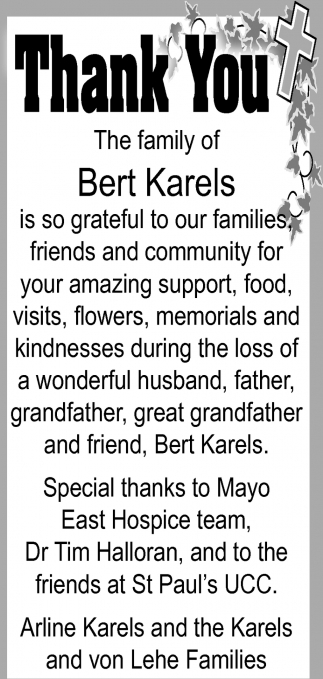 Thank You, Family of Bert Karels