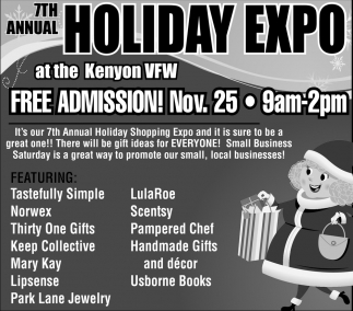 7th Annual Holiday Expo, VFW POST 141 Kenyon, Kenyon, MN