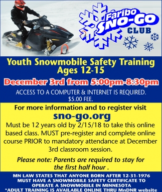 Youth Snowmobile Safety Training