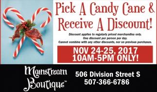 Pick a candy cane & receive a discount!