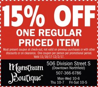 15% off one regular priced item