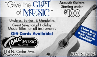 Guitar & Banjo Lessons Available!, Tone Music, Owatonna, MN