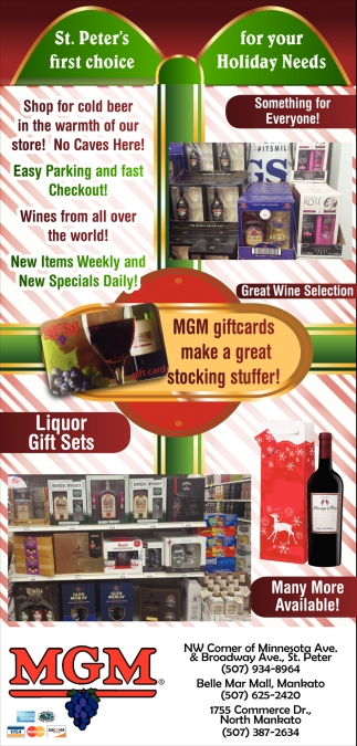 MGM giftcards make a great stocking stuffer!, MGM Wine & Spirits, Mankato, MN