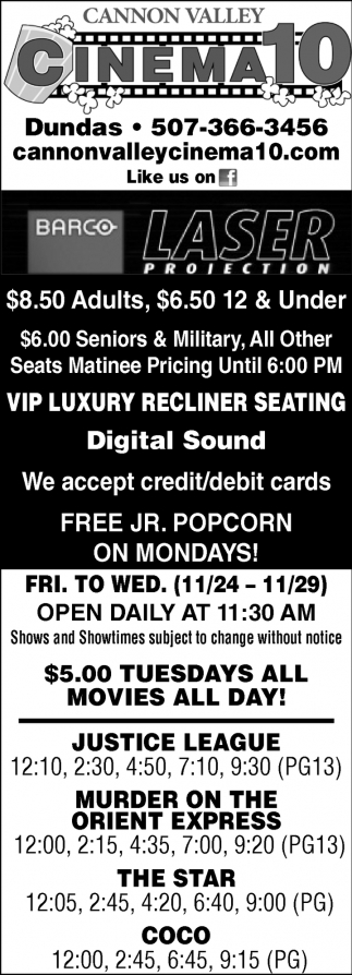 Cinema Listing, Cannon Valley Cinema 10