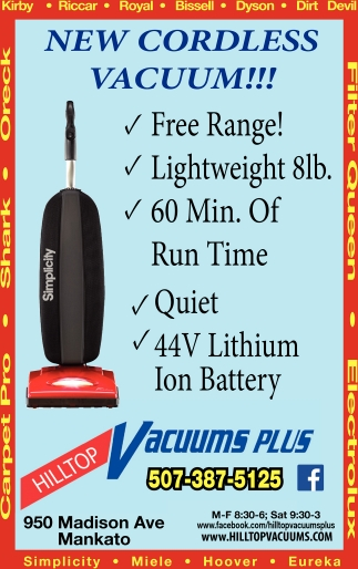 Vacuum Sales and Service in Mankato, Hilltop Vacuums Plus, Mankato, MN