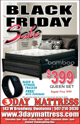 Black Friday Sale, 3 Day Mattress, Owatonna, MN