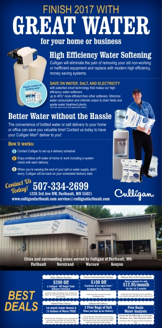 Save on water, salt, and electricity, Culligan, Waseca, MN