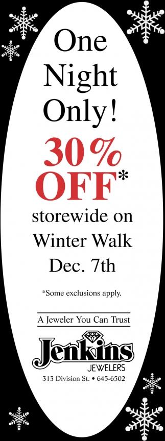 30% off Storewide on Winter Walk