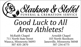 Good luck to all area athletes!, Starkson & Steffel Funeral & Cremation Services, Waseca, MN