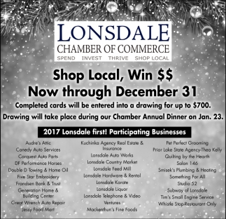 Shop Local, Lonsdale Chamber of Commerce, Lonsdale, MN