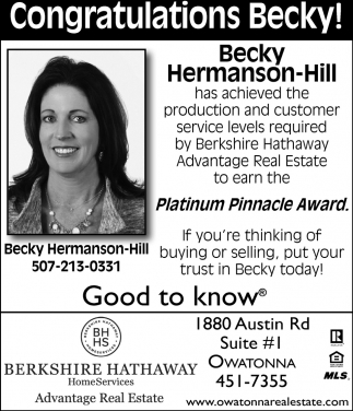 Becky Hermanson-Hill Platinum Pinnacle Award