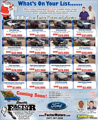 Auto dealers ads in southern minn for Factor motors le center mn
