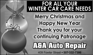 For All Your Winter Car Care Needs