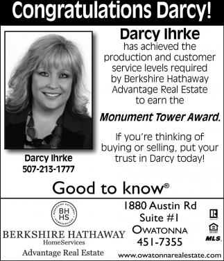Darcy Ihrke Monument Tower Award