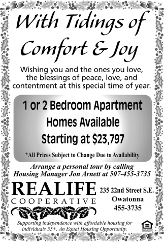 1 or 2 Bedroom Apartment Homes Available