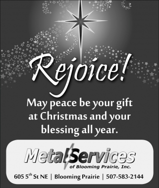 Merry Christmas, Metal Services of Blooming Prairie, Blooming Prairie, MN