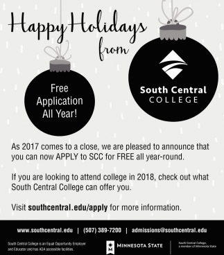 Happy Holidays, South Central College, North Mankato, MN