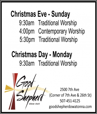 Christmas Worship, Good Shepherd Church - Owatonna, Owatonna, MN