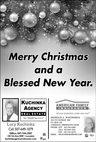 Merry Christmas and a Blessed New Year, Kuchinka Agency Real Estate, Lonsdale, MN