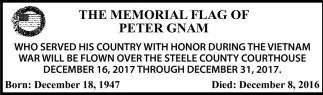 Memorial Flag of Peter Gnam, Steele County Courthouse, Owatonna, MN
