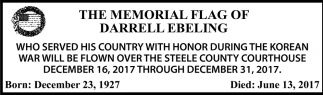 Memorial Flag of Darrell Ebeling, Steele County Courthouse, Owatonna, MN