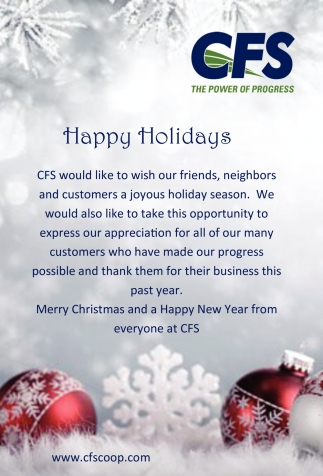 Happy Holidays, Central Farm Service, Owatonna, MN
