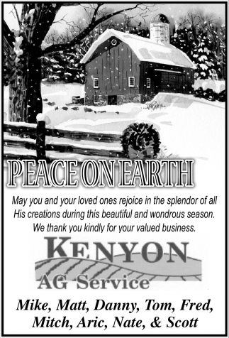 Peace on Earth, Kenyon Ag Service, Kenyon, MN