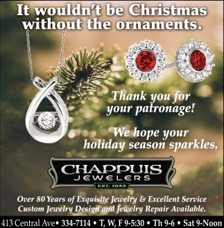 Thank you for your patronage!, Chappuis Jewelry, Faribault, MN