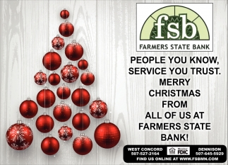 Merry Christmas, Farmers State Bank, Dennison, MN