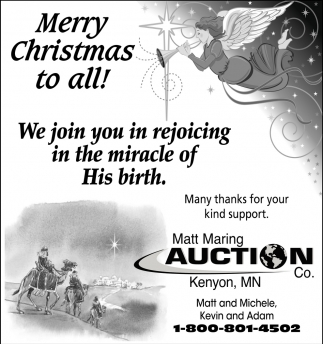 Merry Christmas to all!, Matt Maring Auction, Kenyon, MN