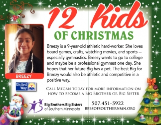12 Kids of Christmas, Big Brothers Big Sisters of Southern MN, Faribault, MN