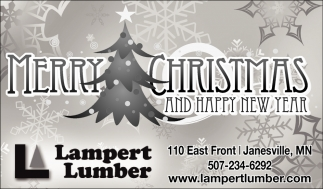 Merry Christmas and Happy New Year, Lampert Lumber, Faribault, MN
