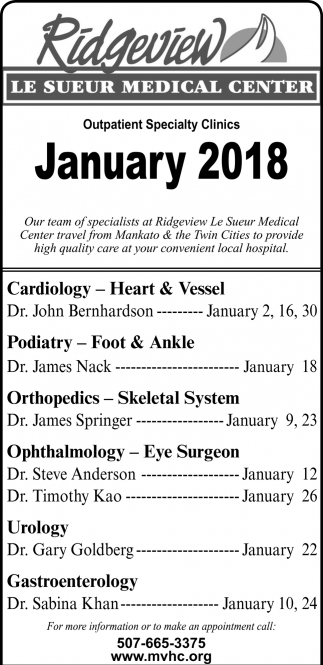 Outpatient Specialty Clinics January 2018, Ridgeview Le Sueur Medical Center, Le Sueur, MN