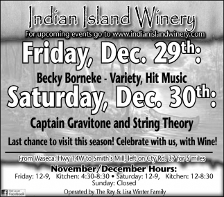 Upcoming Events, Indian Island Winery, Janesville, MN