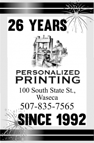 26 years since 1992, Personalized Printing