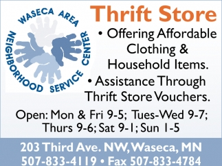 Thrift Store, Waseca Area Neighborhood Service Center, Waseca, MN