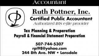 Accountant, Ruth Pottner, Inc, Lonsdale, MN