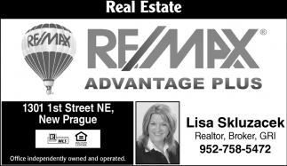Lisa Skluzacek, RE/MAX Advantage Plus: Bruce & Lisa Skluzacek, New Prague, MN