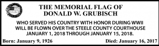 Memorial Flag of Donald W. Grubisch, Steele County Courthouse, Owatonna, MN