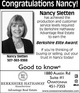 Nancy Sletten Berkshire Elite Award