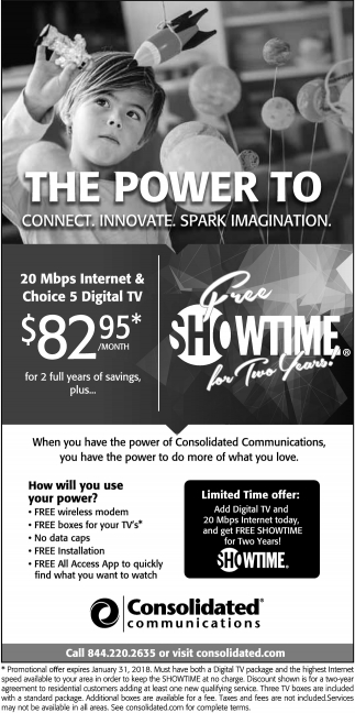 Free Showtime for Two Years, Consolidated Communications, MN