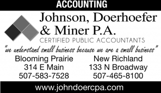 Certified Public Accountants, Johnson, Doerhoefer & Miner, Owatonna, MN