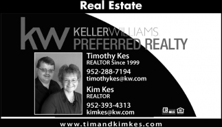 Real Estate, Keller Williams: Timothy Kes, Kim Kes, Lonsdale, MN