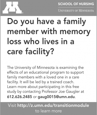 School of Nursing - Memory Loss, University Of Minnesota , Waseca, MN