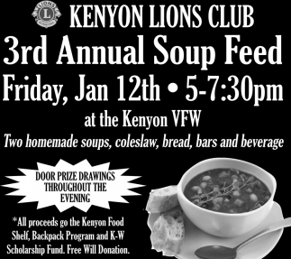 3rd Annual Soup Feed, Kenyon Lions Club, Kenyon, MN